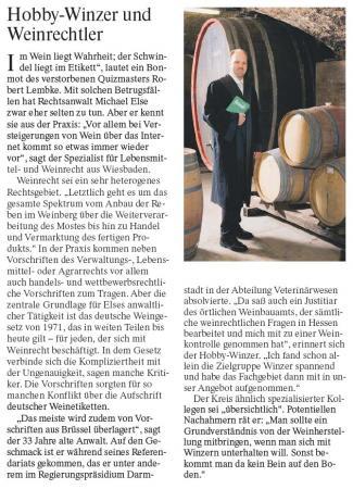 Hobby-Winzer und Weinrechtler Artikel FAZ 2008