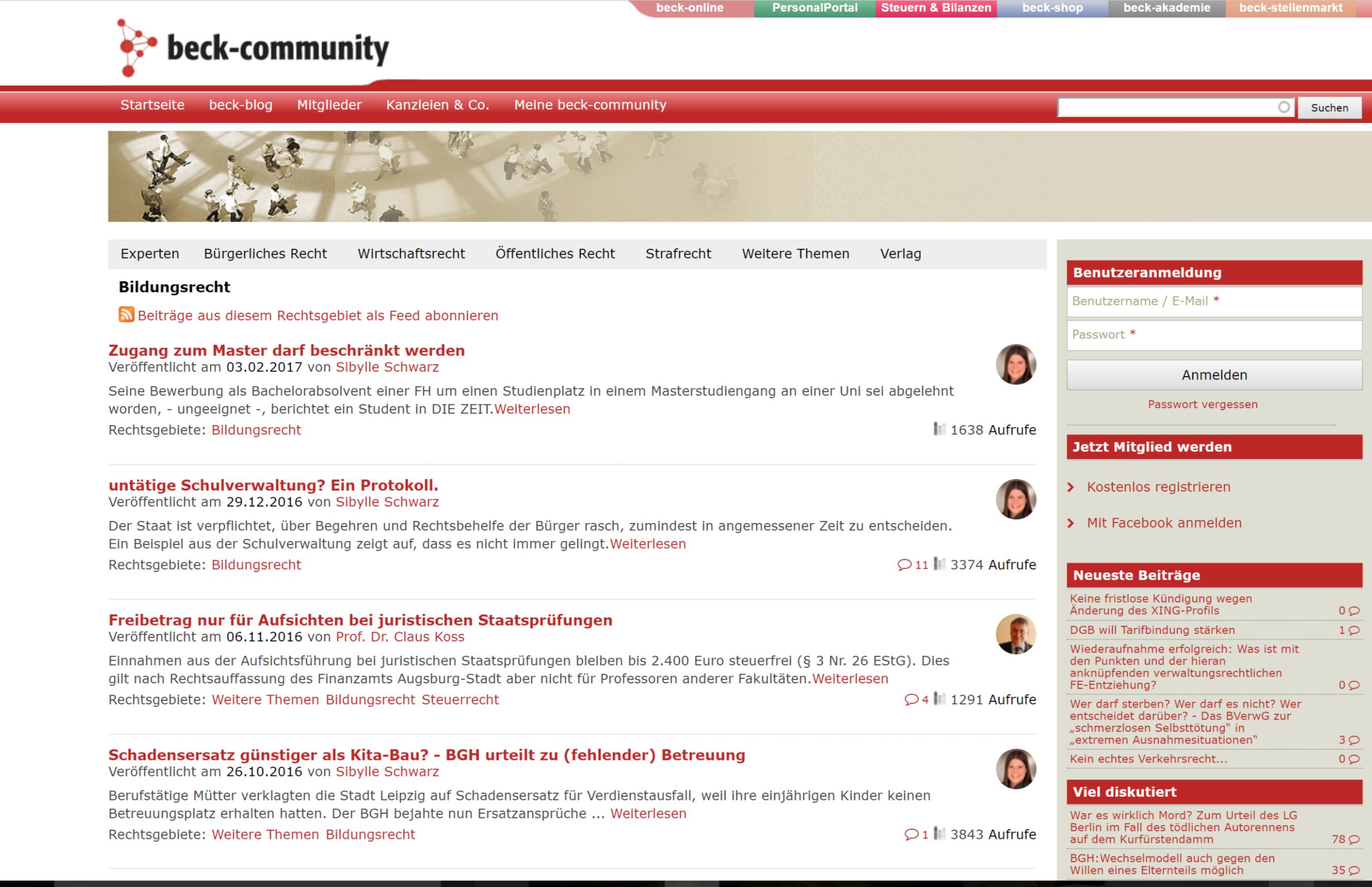 Screenshot von Blog Bildungsrecht im CH Beck Verlag